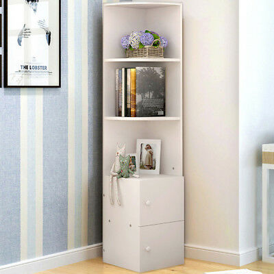 Home White Wood Display Shelf Bookcase With 2 Drawers And 3 Shelf Storage