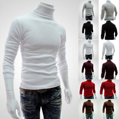 Hot Men's Winter Warm Cotton High Neck Pullover Jumper Sweater Tops Turtleneck