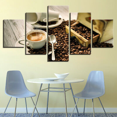 Canvas Prints a Cup of Cafe Latte and Coffee BeansModern Wall Decor 16x24