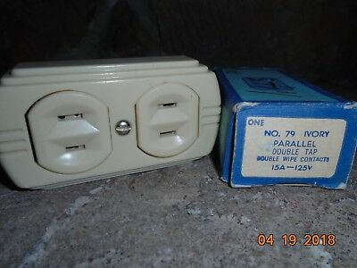 Vintage Eagle Bakelite Double Tap Outlet Flush NOS No. 79 Ivory Color 15A-125V~