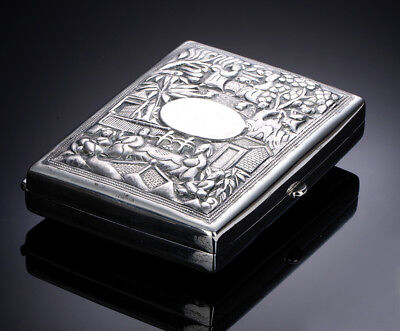 Antique Chinese Export Silver Card Case Canton Shanghai
