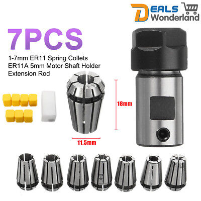 7Pcs 1-7mm ER11 Spring Collets ER11A 5mm Motor Shaft Holder Extension Rod