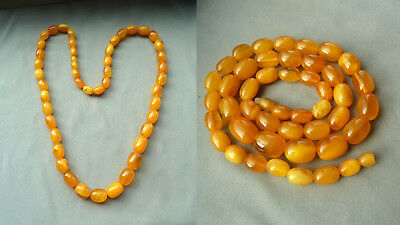 44XY 老琥珀 40,8 g natural amber necklace olive Butterscotch Bernsteinkette Collier