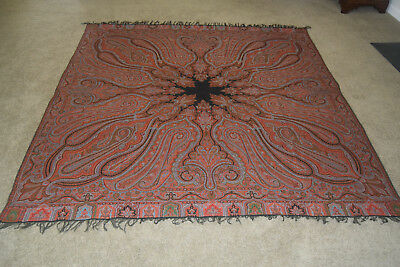 Antique Victorian Paisley Shawl Piano Scarf Hand Worked Red & Black