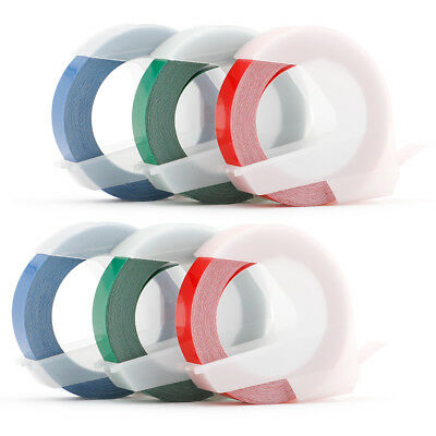Embossing label Tape Compatible DYMO 3D White on Red/Green/Blue 3/8'' Xpress 6PK