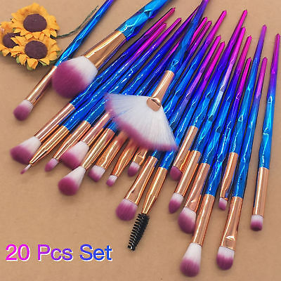 20 PCS Unicorn Diamond Make up Brushes Foundation Set Eyeshadow Lip Tools Powder