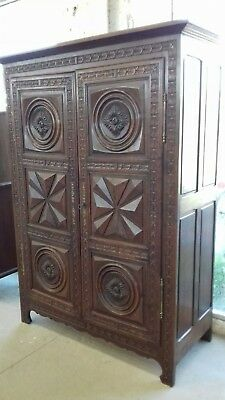Beautiful French/breton 19Thc Solid Wood Carved  French Linen Press/armoire