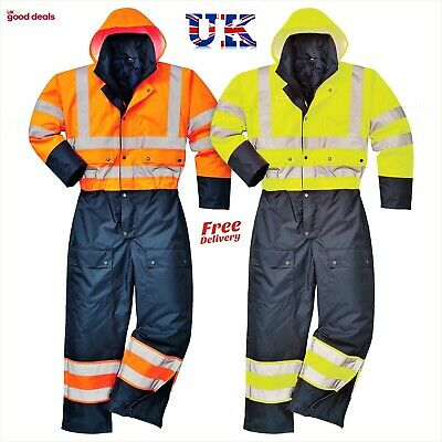 Portwest Hi Vis contrast Coverall Lined Water proof Winter Working Suit S485