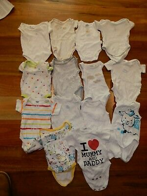 15 x Size 0000 Baby One Pieces, Bodysuit(Marquise, Pumpkin Patch & Purebaby)
