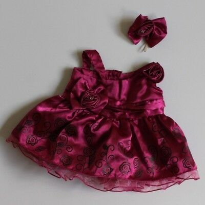 """Build A Bear- Magenta Pink Evening Dress with Bows and Flower Details """"Like new"""""""