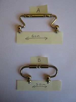 Replacement Brass Carriage Handles - Ideal for Carriage Clock / Display Case