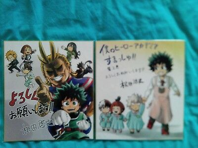 Set of 2 My Hero Academia Shikishi Kohei Horikoshi Autograph Midoriya All Might