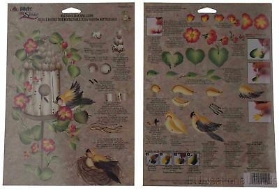 FolkArt One Stroke Reusable Teaching Guide Lot 36 Birdhouse Row Flowers 1140