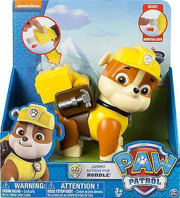 """Paw Patrol Jumbo Sized Action Pup """"rubble"""" BRAND NEW  AS SHOWN IN PICTURE ONE"""