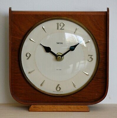 VINTAGE 17cm Smiths Mantel Clock - Wooden Art Deco Desk Clock Gift No Glass