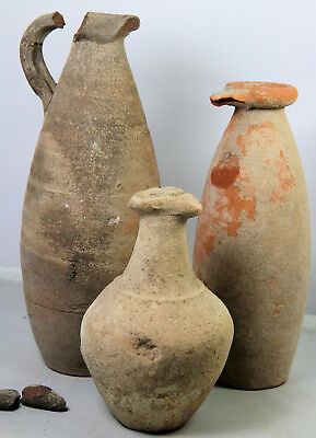 Three ancient Roman or Punic pottery jugs, collected in the early 20thC