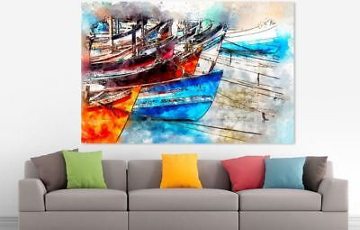 ARTISTIC WATERCOLOR BOATS SCENERY high quality wall Canvas wall art home decor