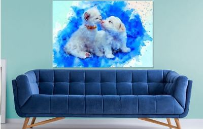 ARTISTIC WATERCOLOR PUPIES SCENERY high quality wall Canvas wall art home decor