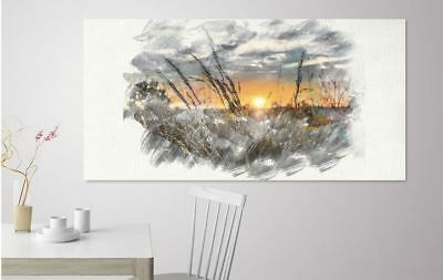 ARTISTIC WATERCOLOR SUN SET SCENERY high quality wall Canvas wall art home decor