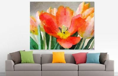 ARTISTIC WATERCOLOR FLOWERS SCENERY high quality wall Canvas wall art home decor