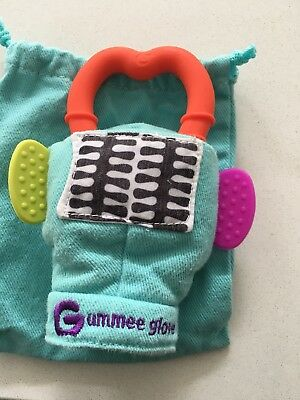 Gummee Glove Blue Baby Teething Mitten with Silicone Teether Ring Toy