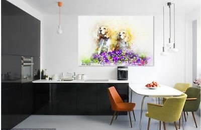 ARTISTIC WATERCOLOR DOGS SCENERY high quality wall Canvas wall art home decor