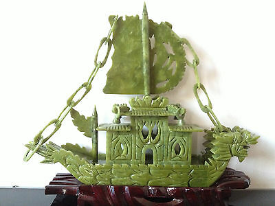 100% Chinese Natural jade Hand-carved Dragon Boat Statues yifanfengshun Rare