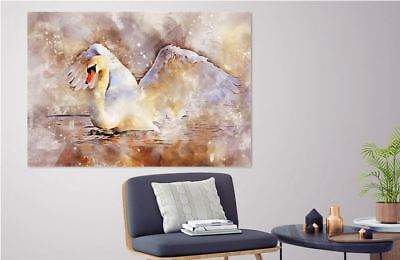 ARTISTIC WATERCOLOR SWAN SCENERY high quality wall Canvas wall art home decor