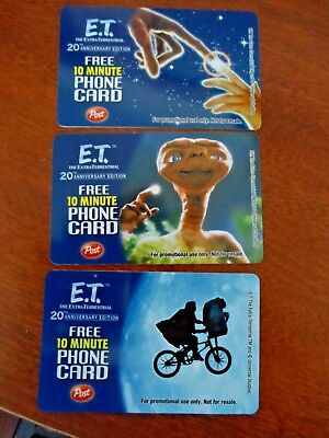 Lot of 3 E.T. The Extraterrestrial 10 Minute phone card expired Post collectors