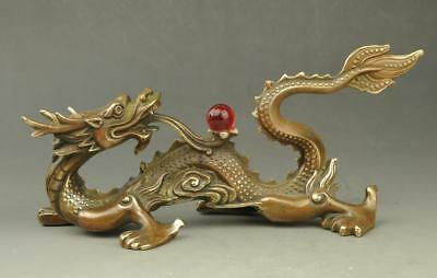 Chinese old fengshui copper hand-carved propitious Dragon play pearl statue