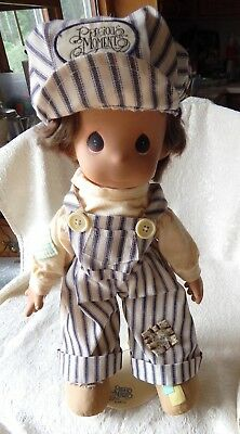 """Precious Moments Enesco - Dusty The Engineer Doll W Stand - 17"""" Tall"""