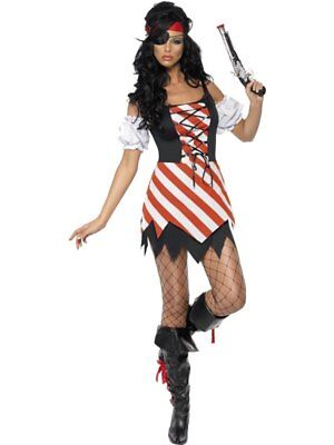 Pirate Lady Fancy Dress Costume Lace Up Ladies Red Pirate Costumes