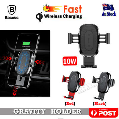 Baseus Qi Wireless Charger Car Air Vent Mount Holder Galaxy S10 E Note 10 Plus