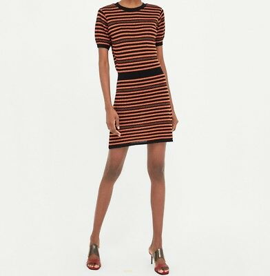 Zara knit striped black & orange mini dress Size M BNWT Bloggers favorite