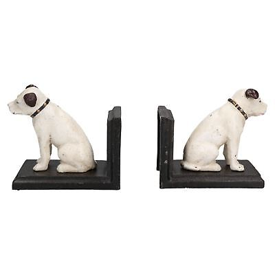 HMV Nipper Dog Bookends Ornament Figurine Cast Iron Book Ends Stand Holder