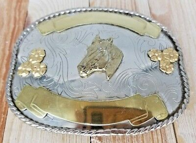 "HORSE HEAD Belt BUCKLE 4 1/2"" Western Trophy Handmade GERMAN SILVER and Gold"
