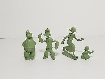 Vintage 50s-60s MARX Green Molded Plastic Popeye Olive Oil Sweet Pea Wimpy Lot