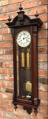 Antique Style Mahogany Twin Double Weighted Vienna Clock KIENINGER