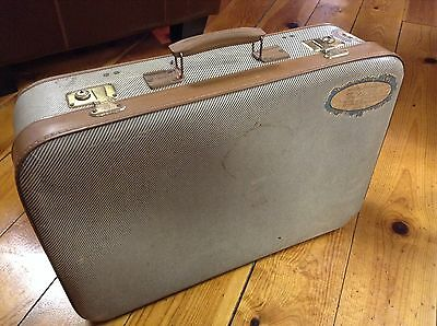 Vintage TAN STRIPED UNBRANDED Suitcase Luggage 23 x 16 x 7