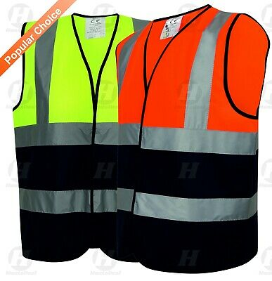 Hi Vis Viz Vest Yellow Orange Velc Two Tone High Work Safety Waistcoat 2 Band