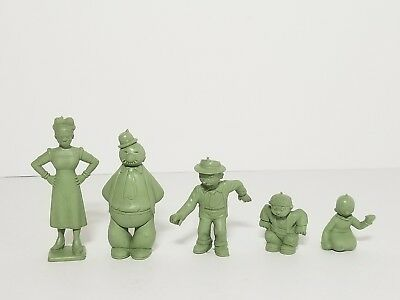 Vintage 50s-60s MARX Green Molded Plastic Figures Popeye Sunday Funnies Lot #6