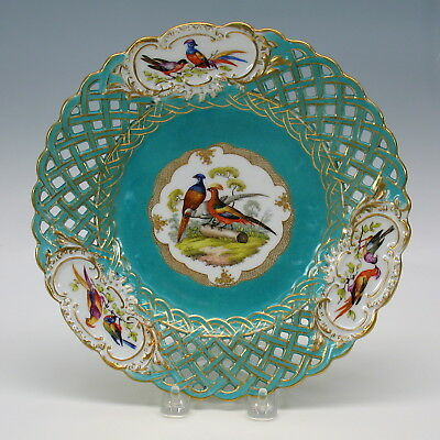 Antique Meissen porcelain reticulated plate with 3 Birds on log #6