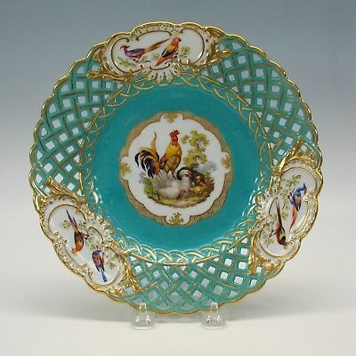 Antique Meissen porcelain reticulated plate with Rooster hen & chicks #7