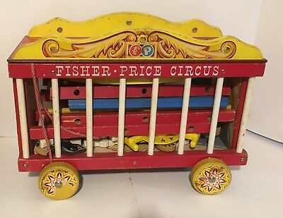 Vintage Wooden Fisher Price Circus  nice played with condition / missing monkey
