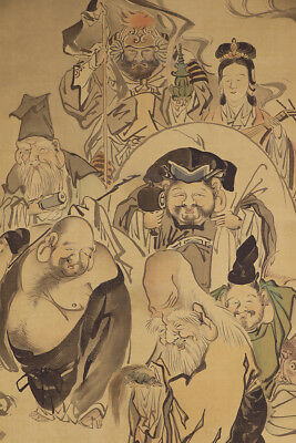 "JAPANESE HANGING SCROLL ART Painting ""Seven God of Lucky Fortune""  #E4365"