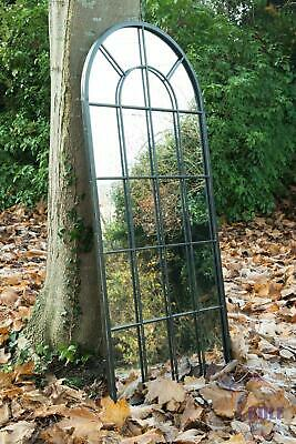 New Black Multi Panelled Arched Window Garden Outdoor Mirror 4ft7 x 2ft2