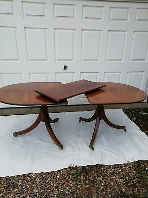 Twin Pedestal Extending Dining Table Solid Mahogany