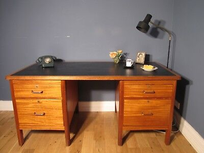 Large Vintage Industrial teak Twin Pedestal Ministry Desk from the 1950's