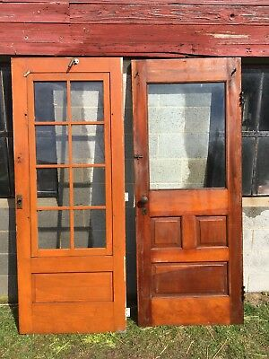 Antique Wood Exterior Door With Storm Door