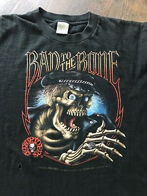 Vintage 80s EASYRIDERS Harley-Davidson 3D Emblem BAD TO THE BONE tee t shirt XL